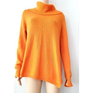 BCBG Orange Knit Cowl Neck Sweater Size Large